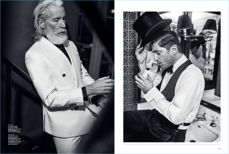 Left: Aiden Brady wears a dashing cream suit by Thom Sweeney with a Brooks Brothers shirt and Caruso tie. Right: Tony dons a Budd Shirtmakers waistcoat and shirt. The model icon also wears Favourbrook trousers and a top hat by Lock & Co.