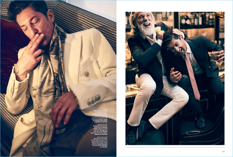 Left: Tony Ward relaxes in a Dolce & Gabbana double-breasted blazer, Ermenegildo Zegna Couture trousers, and Turnbull & Asser scarf. Right: Aiden Brady wears a Massimo Piombo double-breasted jacket with a shirt by The Gigi and Michael Kors jeans. Aiden also wears Rubinacci shoes. Tony Ward sports a double-breasted jacket, trousers, and tie by Caruso with a Brunello Cucinelli shirt and Rubinacci shoes.