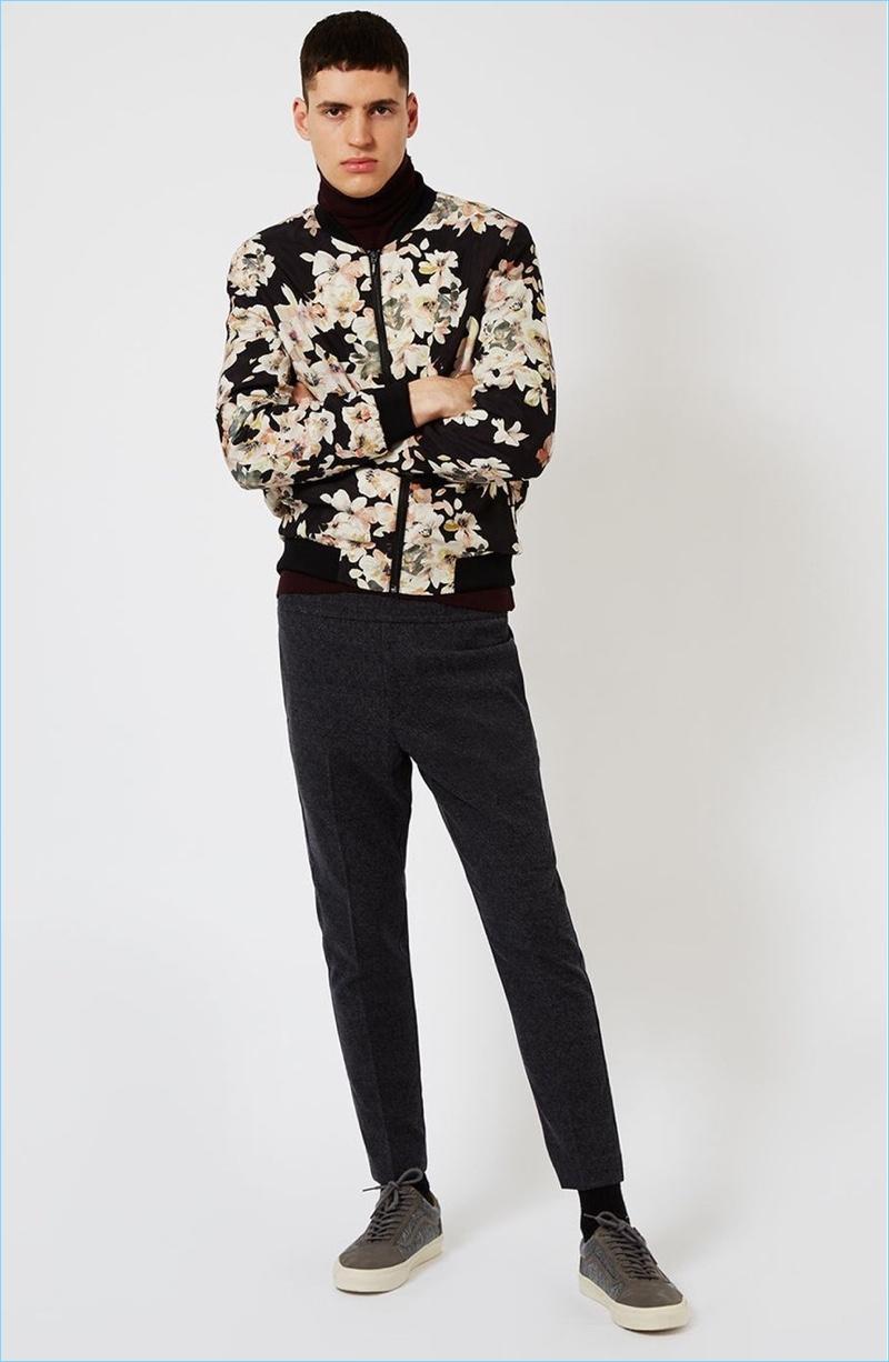 Topman Floral Bomber Jacket