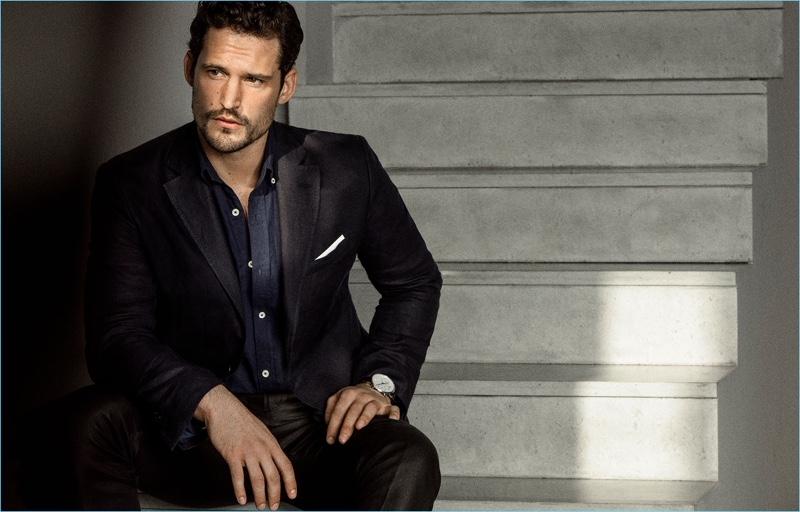 Sam Webb dons a sharp suit from Massimo Dutti.