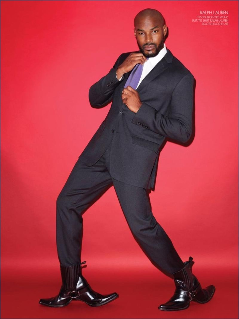 Tyson Beckford is a sharp vision in a Ralph Lauren suit for CR Fashion Book.