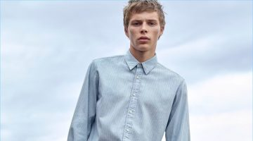Double down on denim with Uniqlo U's long-sleeve shirt and relaxed pants.