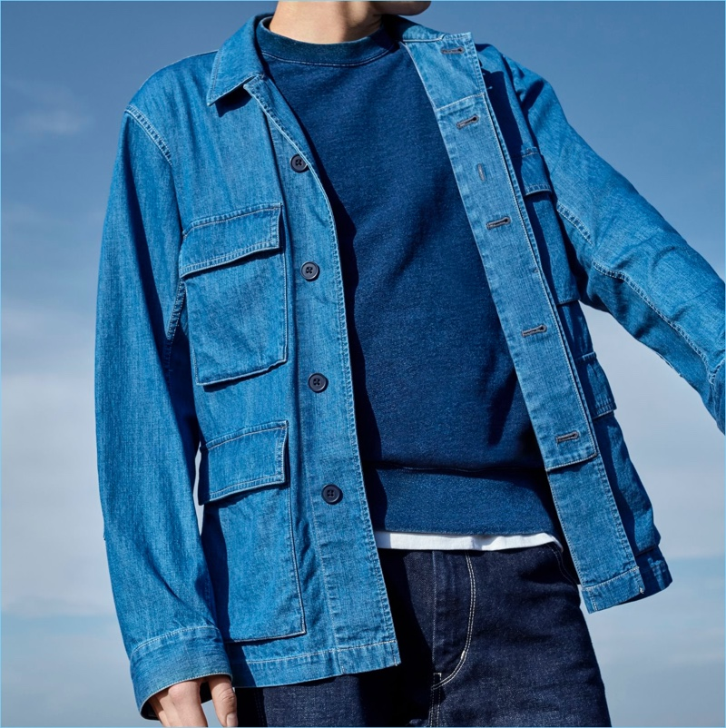 Denim is reworked for Uniqlo U's denim work jacket, which features four generous pockets.