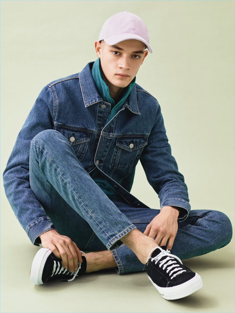 Maxime Frenel sports a denim jacket and slim-fit jeans for Weekday's spring-summer 2017 campaign.