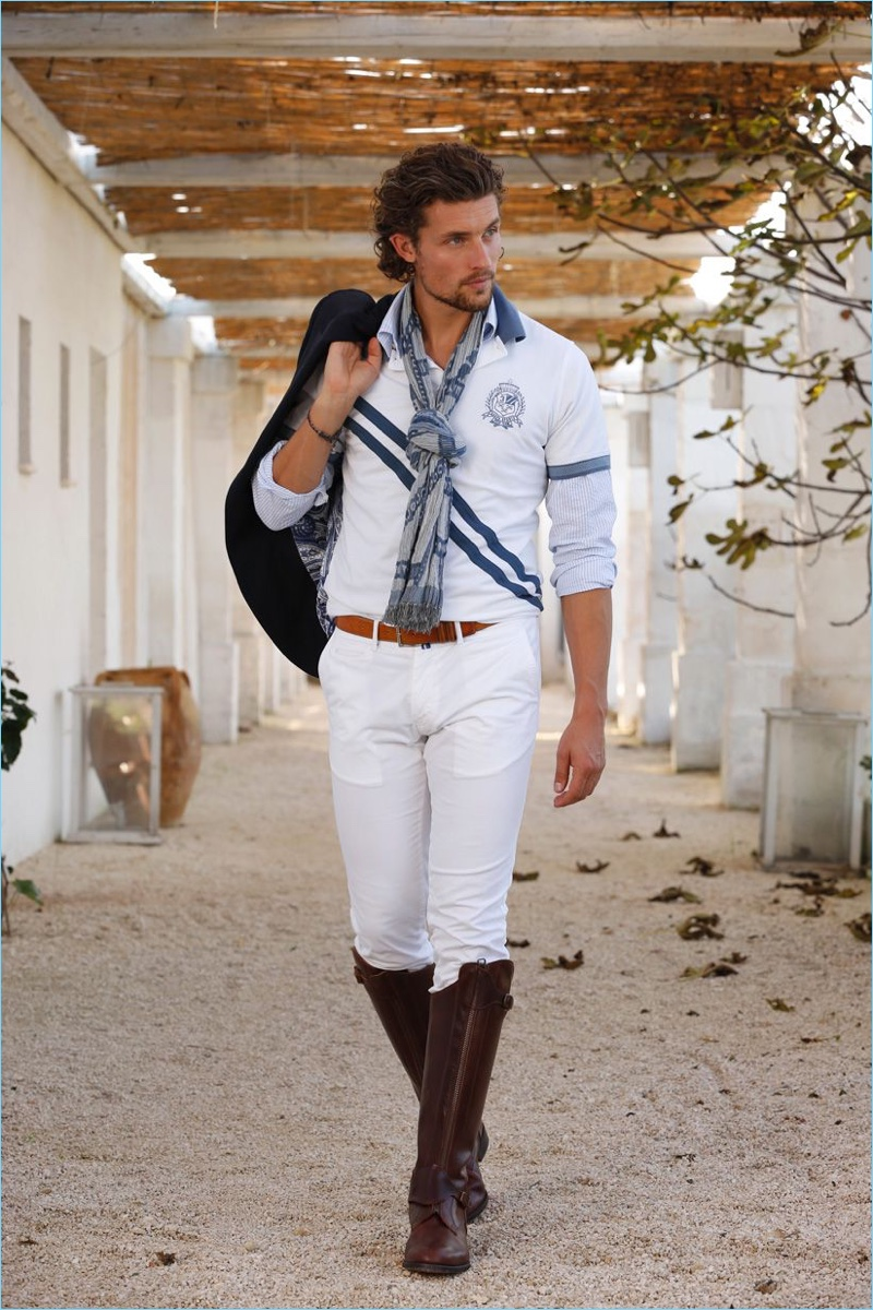 Front and center, Wouter Peelen takes on jockey style with a Scapa look in white.