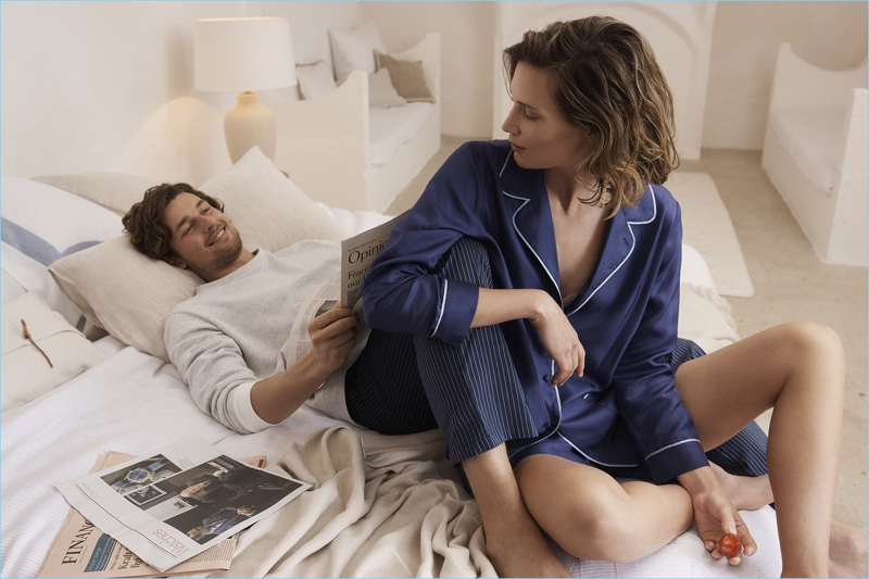 Relaxing in bed, Wouter Peelen and Drake Burnette showcase the latest loungewear from Zara Home.