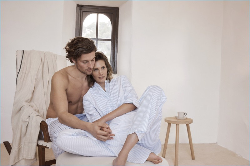 Models Wouter Peelen and Drake Burnette embrace in Zara Home's most recent loungewear outing.