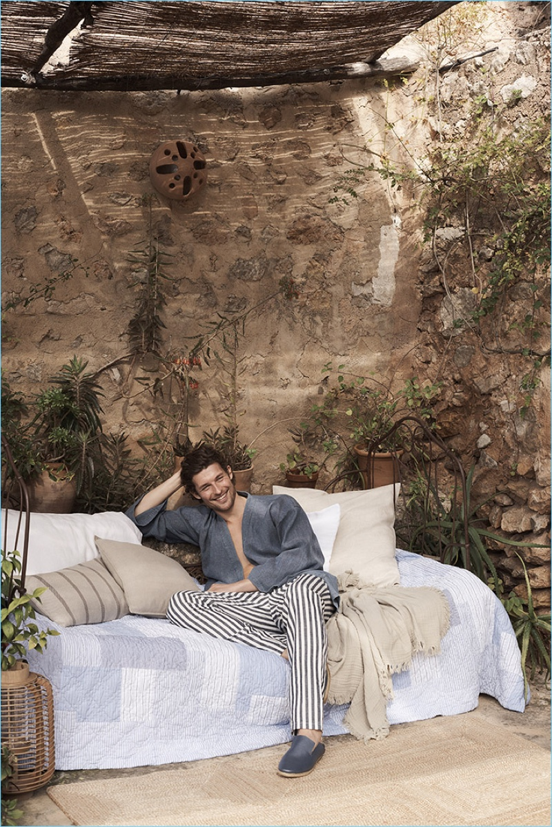 All smiles, Wouter Peelen sports the latest loungewear from Zara Home.