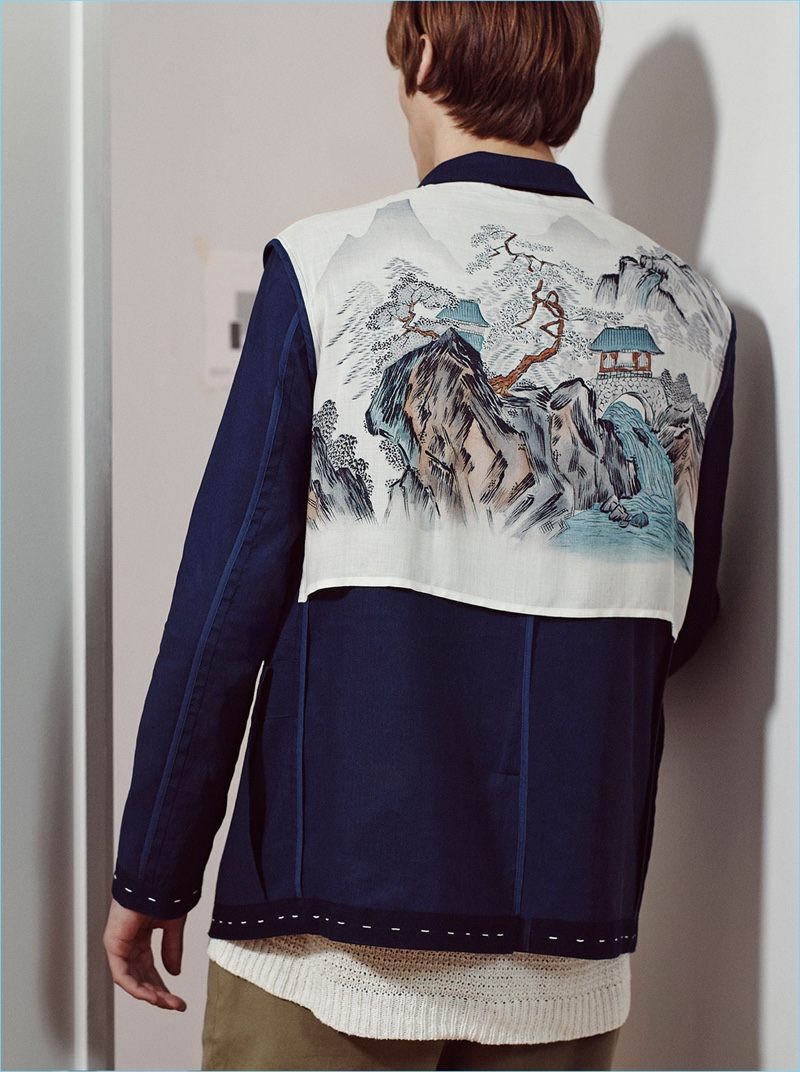 Detail oriented, Zara Man delivers a stunning worker jacket with Japanese inspired imagery.