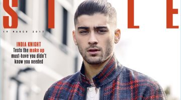 Zayn Malik covers the March 19, 2017 issue of The Sunday Times Style in a check Louis Vuitton jacket.