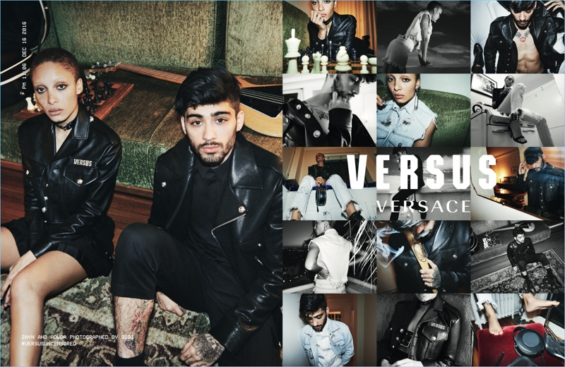 Adwoa Aboah and Zayn Malik star in Versus Versace's spring 2017 campaign.