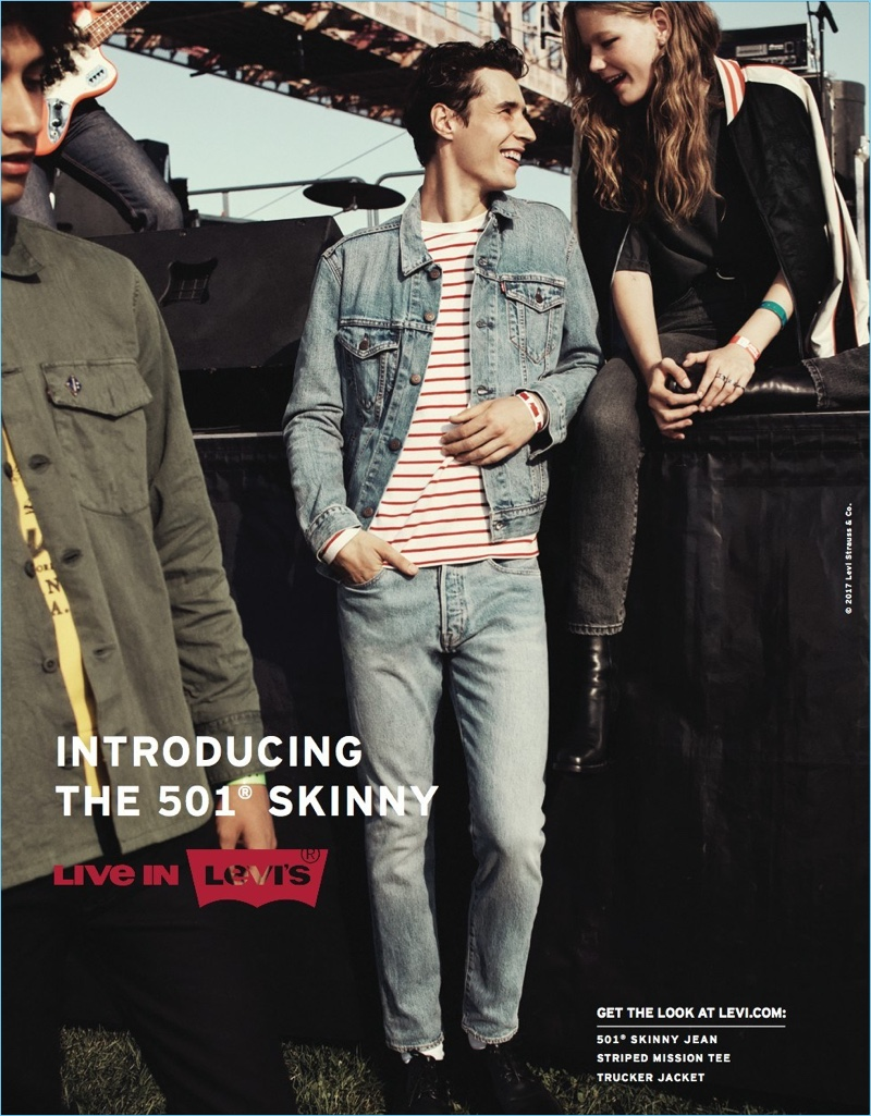 Adrien Sahores stars in Levi's spring-summer 2017 campaign. The French model wears the brand's 501 skinny jeans.