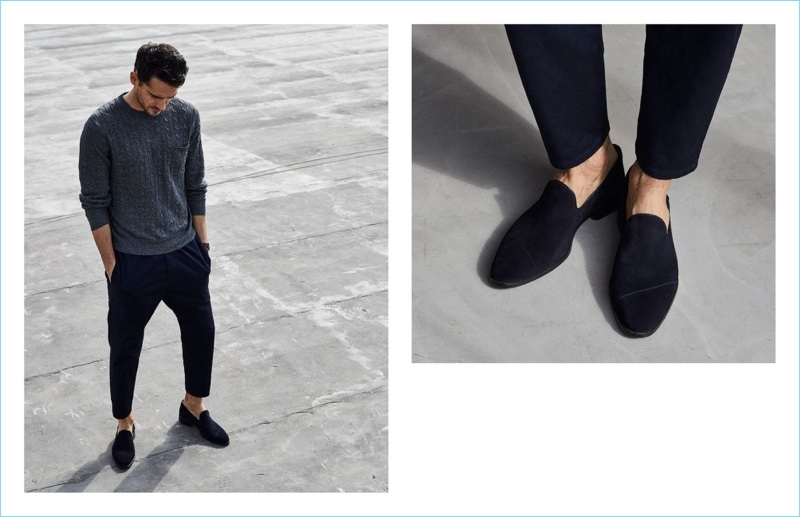 Stepping outdoors, Arthur Kulkov dons Between Rivers' slip-on in midnight suede.