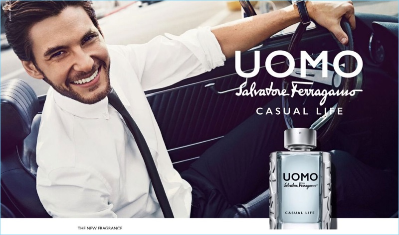 Ben Barnes charms in the new fragrance campaign for Salvatore Ferragamo Uomo Casual Life.