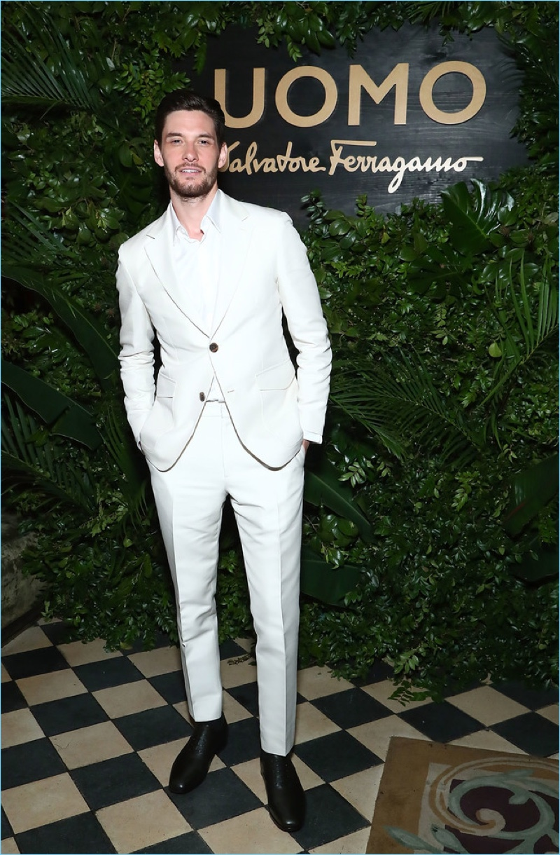 April 2017: Ben Barnes dons a chic neutral Salvatore Ferragamo suit for a launch event of the brand's newest fragrance, Salvatore Ferragamo Uomo Casual Life.