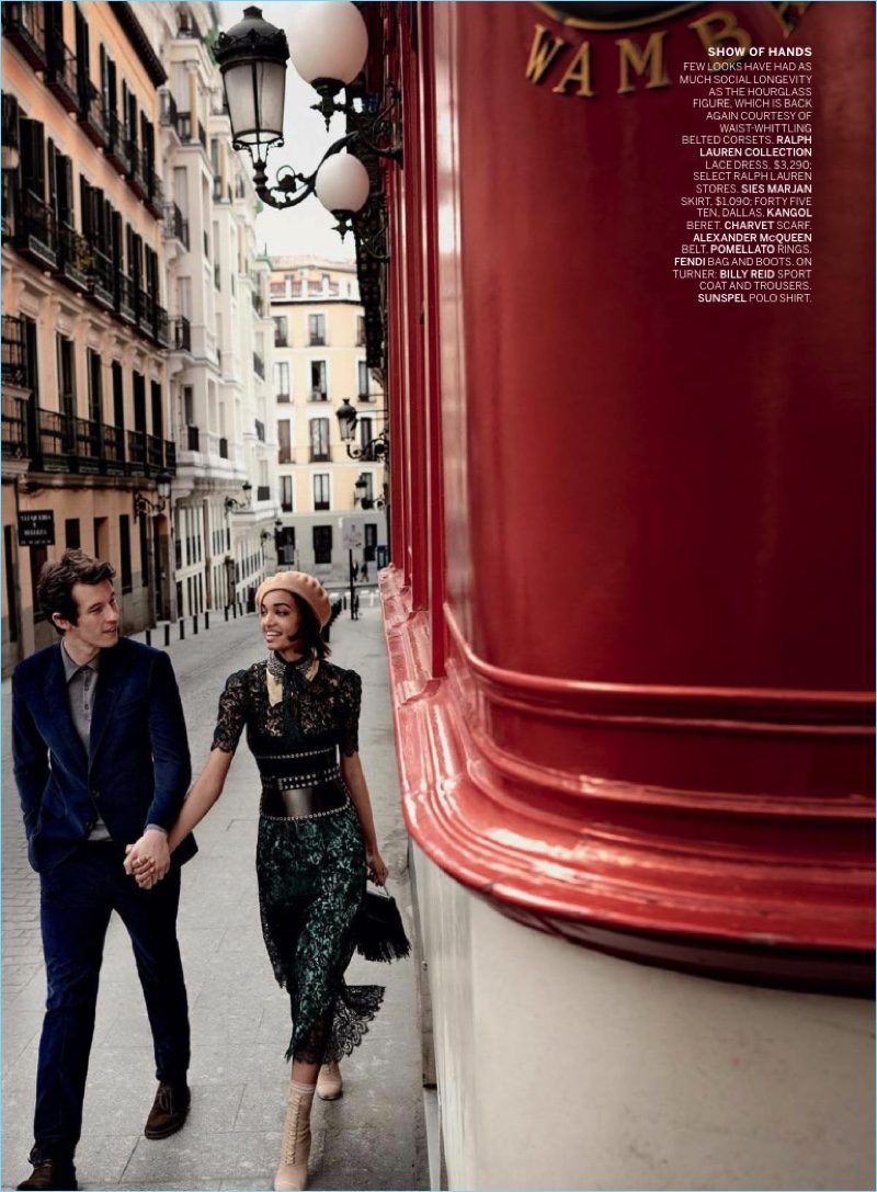 Exploring the streets of Madrid with Ellen Rosa, Callum Turner wears a Billy Reid sport coat and trousers with a Sunspel polo.
