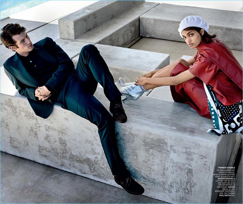 Mario Testino photographs Callum Turner and Ellen Rosa. Turner dons a Paul Smith suit.