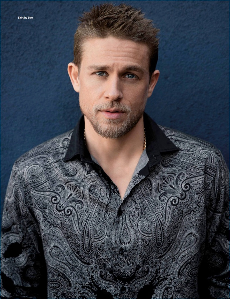 Actor Charlie Hunnam wears a paisley Etro shirt for the pages of Da Man.