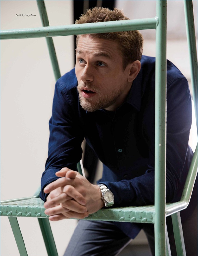 Appearing in a spread for Da Man, Charlie Hunnam wears Hugo Boss.