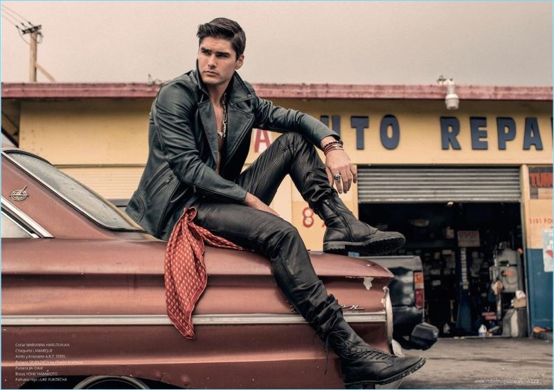 Clad in leather, Charlie Matthews is front and center for the pages of Risbel magazine.