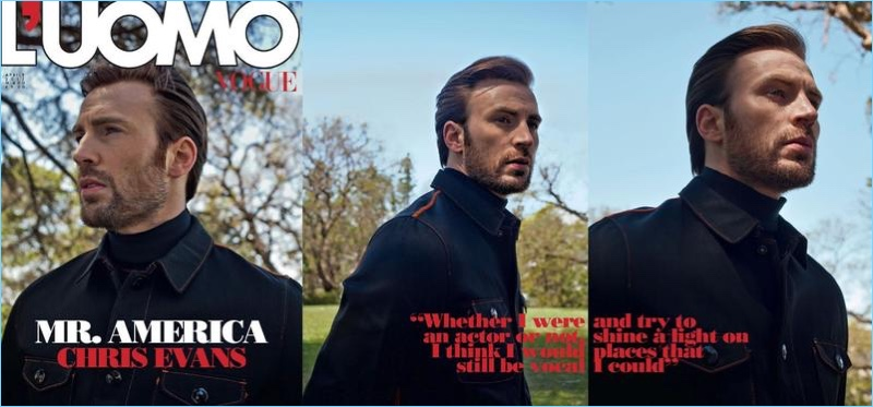 Chris Evans covers the April 2017 issue of L'Uomo Vogue.