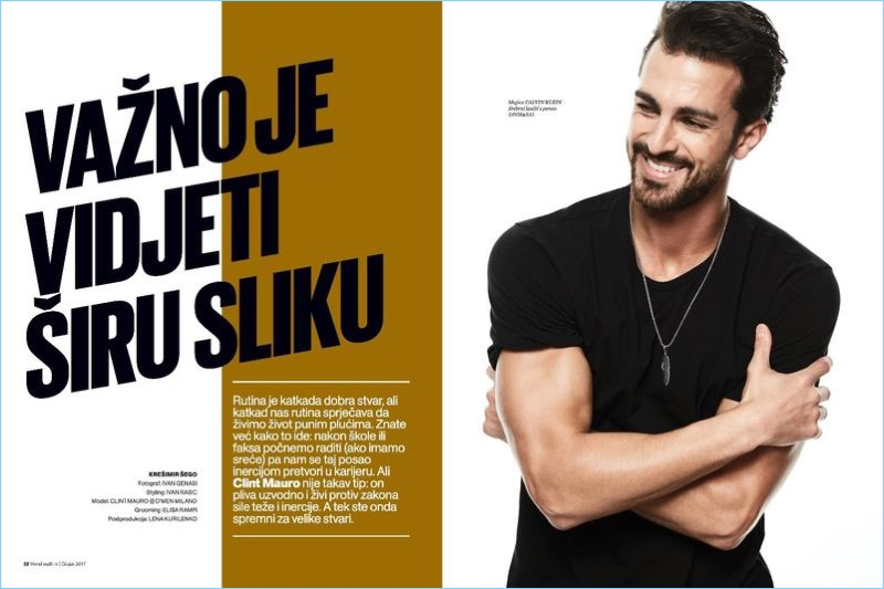 Going casual, Clint Mauro sports a Calvin Klein t-shirt for his Men's Health Croatia cover story.