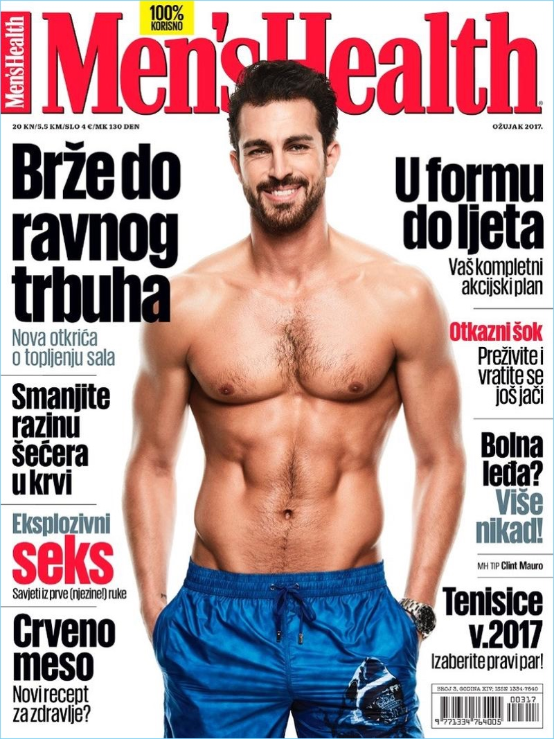 Clint Mauro covers the March 2017 issue of Men's Health Croatia.