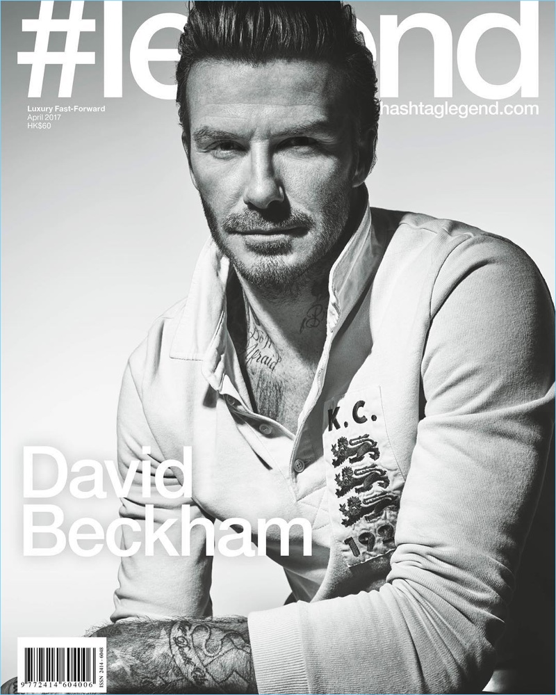 David Beckham covers #legend in a Kent & Curwen rugby polo.