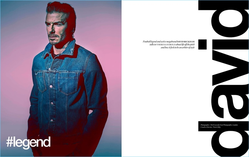 Starring in a photo shoot, David Beckham sports a Maison Margiela denim jacket.