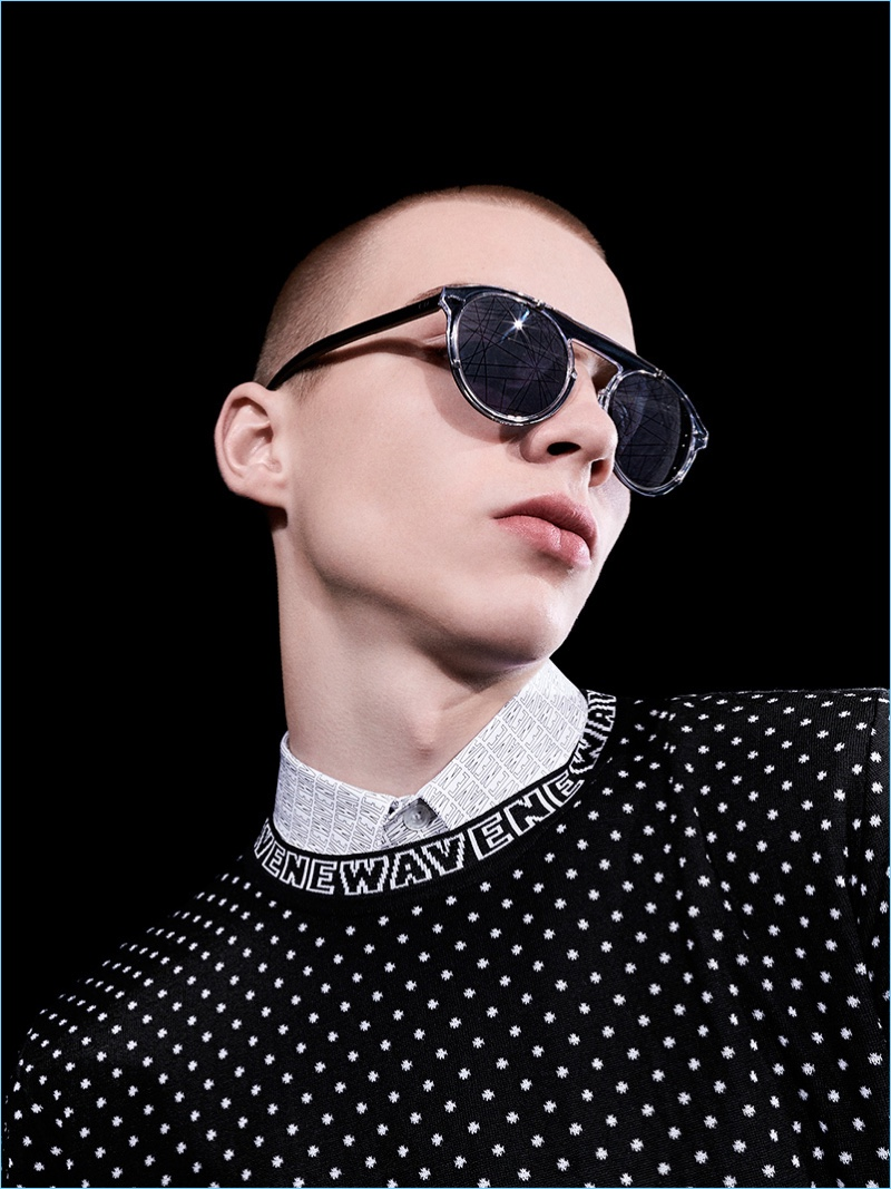 Modern sunglasses steal the spotlight for Dior Homme's fall-winter 2017 Newave collection.