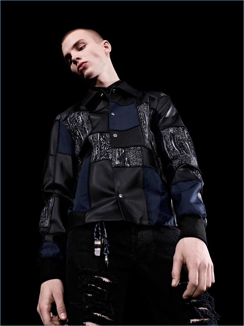 Patchwork is present with a jacket for Dior Homme's fall-winter 2017 collection.