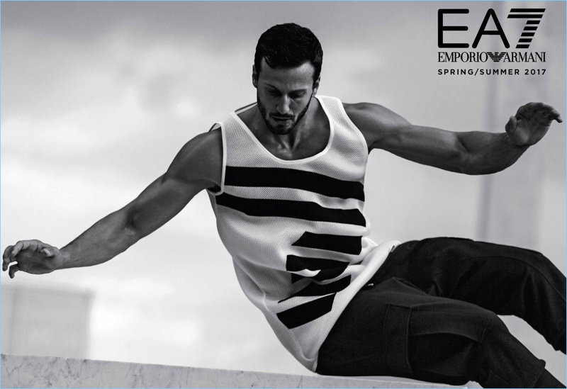 Michael Lewis fronts EA7's spring-summer 2017 outing.