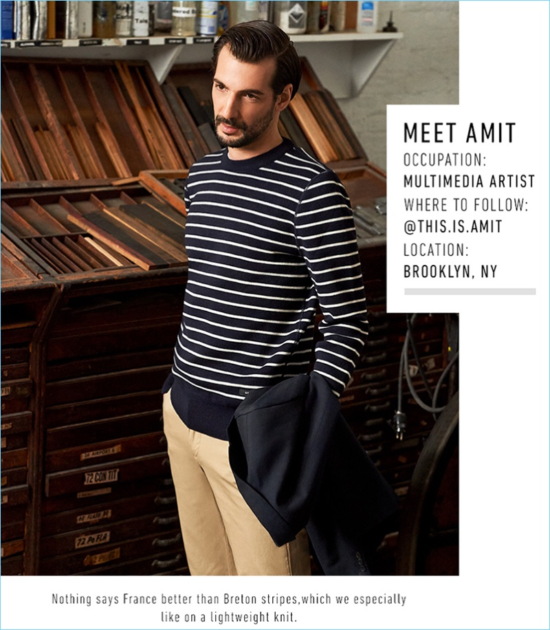 45d86939a26 Amit Greenberg wears an A.P.C. Truman jacket  620 with an AMI striped  sweater  400