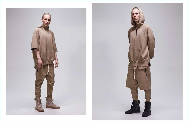 A neutral brown chinchilla hue dresses relaxed must-haves from the FOG Fear of God Essentials capsule collection.