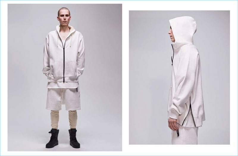 A thermal zip hoodie, waffle knit leggings, and drawstring shorts contribute to the FOG Fear of God Essentials capsule collection.