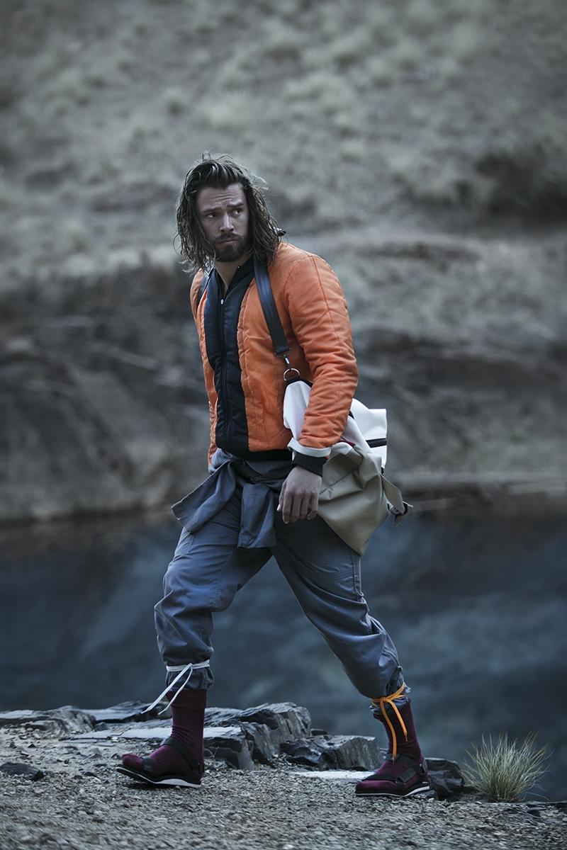 Morgan wears jacket Refinery, vintage jumpsuit, bag Sealand, socks Falke, and sandals MRP.