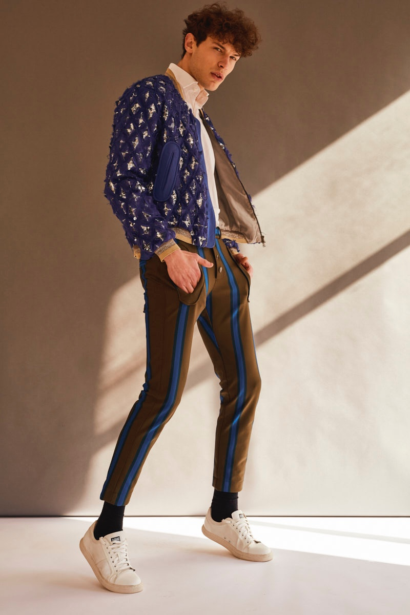 Petar wears shirt COS, shoes G-Star, embellished bomber jacket and striped pants Ana Locking.