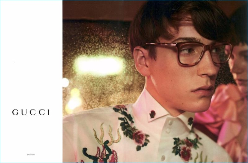 Nick Fortna wears Gucci square-frame tortoiseshell optical glasses $360 for the brand's spring-summer 2017 eyewear campaign.