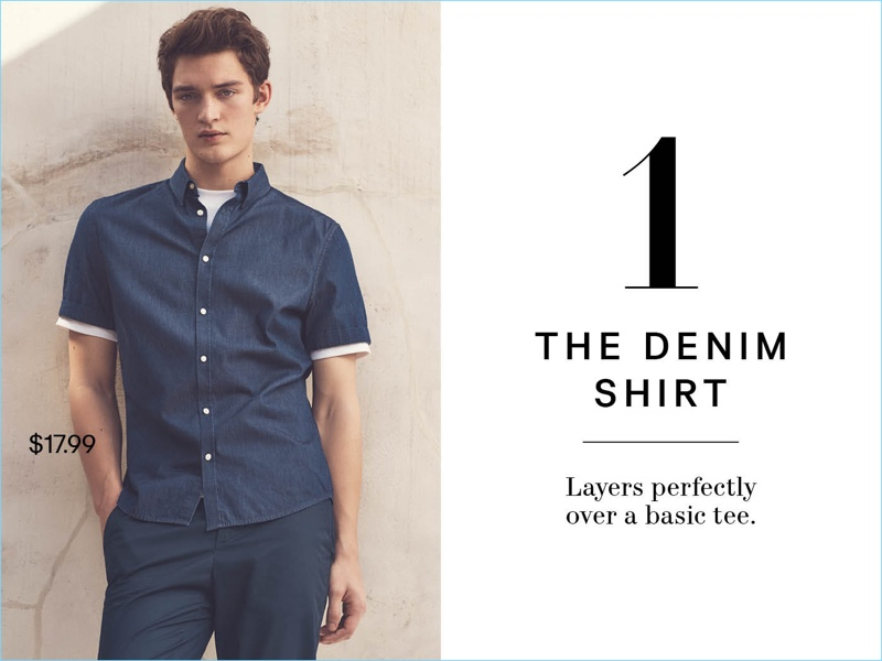 Going casual, Otto Lotz wears a H&M short-sleeved slim-fit denim shirt $17.99 and navy short chino shorts $19.99.
