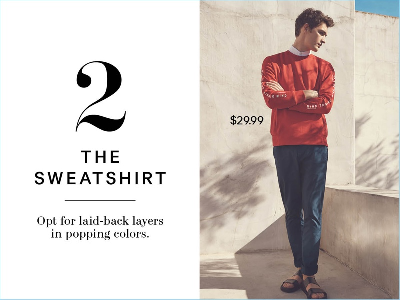 Connecting with H&M, Otto Lotz sports a red sweatshirt $29.99, slim-fit cotton chinos $24.99, and leather sandals $49.99.