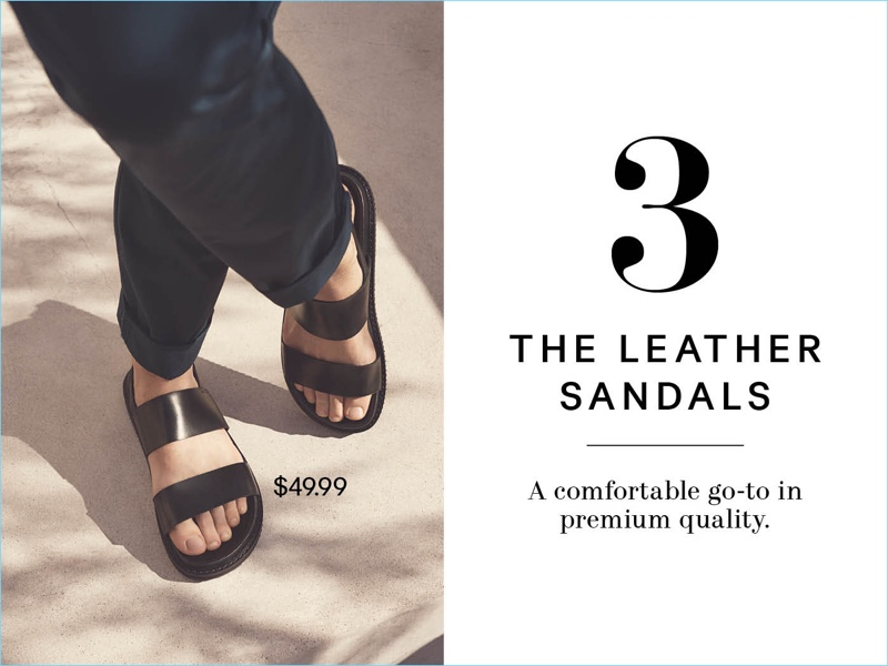 Ready for warm weather, H&M spotlights its leather sandals $49.99.