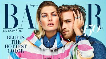 Jessica Hart and RJ King cover the latest issue of Harper's Bazaar México.