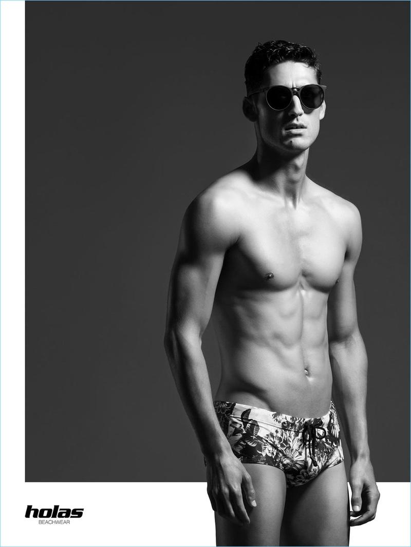 Wearing shades, Carlos Ferra fronts Holas Beachwear's spring-summer 2017 campaign.