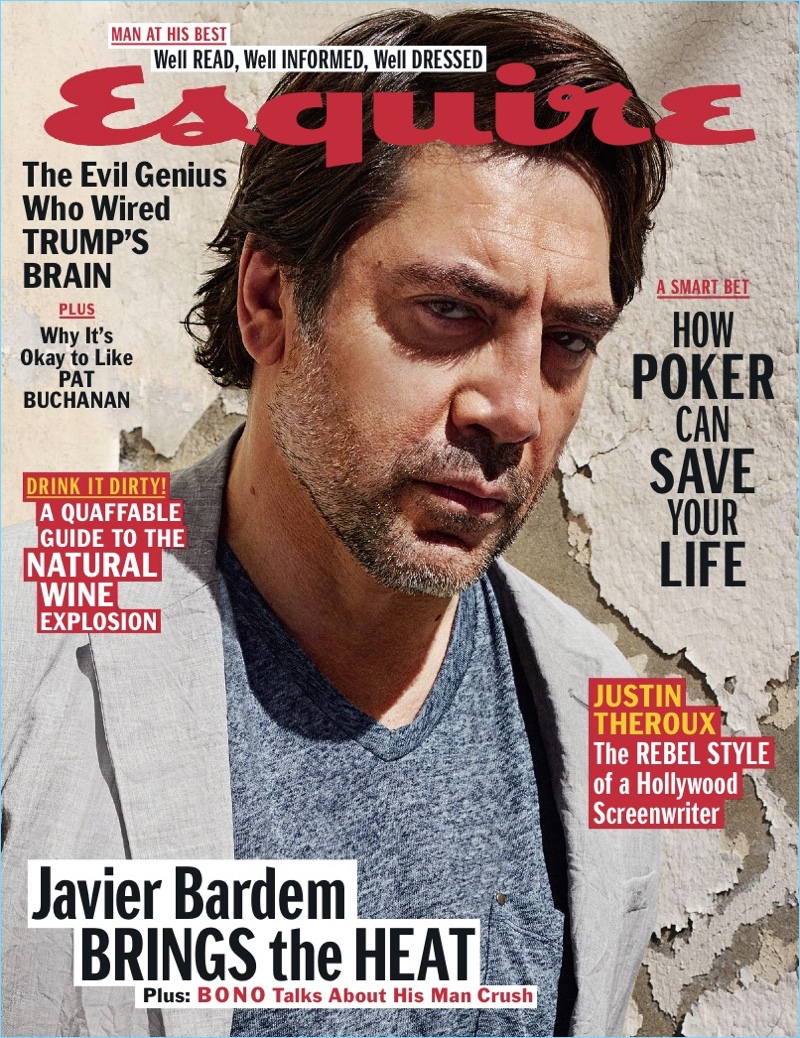 Javier Bardem covers the May 2017 issue of Esquire.