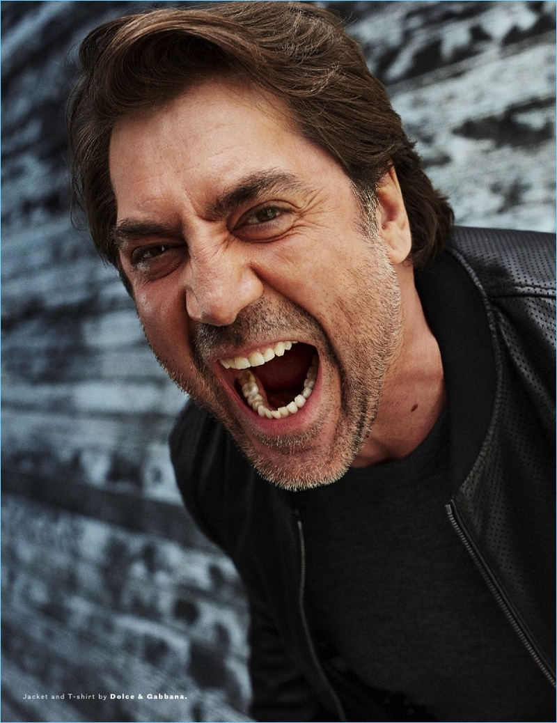 Letting out a yell, Javier Bardem wears a t-shirt and jacket from Dolce & Gabbana.
