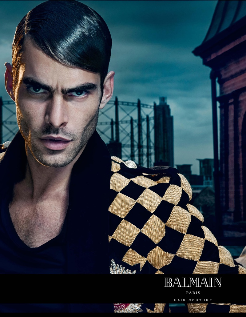 Jon Kortajarena shows off a suave slicked back hairstyle for the Balmain Hair Couture Icons campaign.