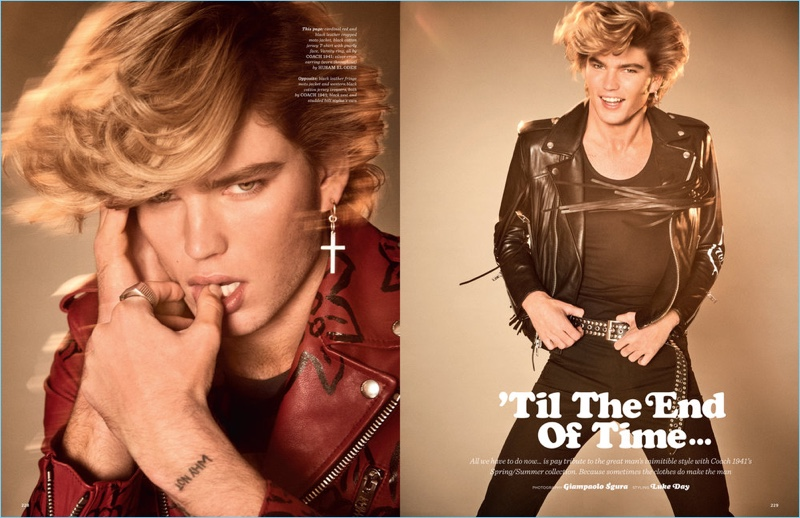 Left: Jordan Barrett wears a red and black leather biker jacket by Coach 1941. Right: Jordan sports a fringe leather jacket and skinny jeans from Coach 1941.