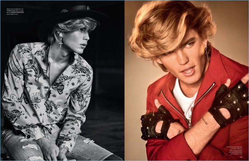 Left: Jordan Barrett wears windbreaker by Coach 1941 with a Jessie Western hat. Right: Jordan sports a t-shirt and red jacket from Coach 1941.