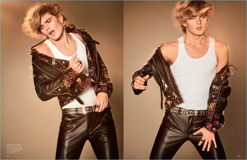 Channeling the spirit of George Michael, Jordan Barrett wears a leather jacket and skinny jeans from Coach 1941.
