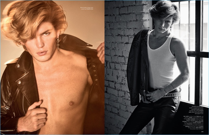 Left: Jordan Barrett flashes some skin in a fringe leather jacket by Coach 1941. Right: Jordan sports a leather jacket and jeans from Coach 1941.